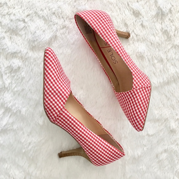 a73d0ddca0b Sole Society Red Gingham Angelica Pointed Toe Pump